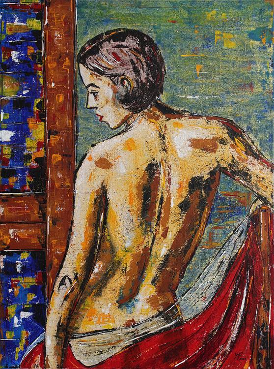 Akt einer jungen Frau - 2009, Acryl auf Leinwand,  60 x 80 cm