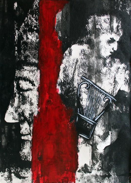 David und Saul - 2006, Mischtechnik auf Büttenpapier, 29 x 40 cm