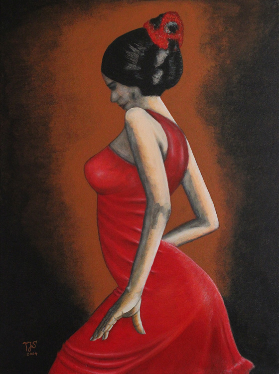 Flamencotänzerin I - 2004, Acryl auf Leinwand, 60 x 80 cm