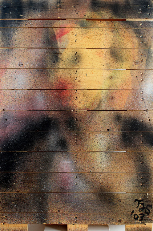 Diva - 2003, Arbeit mit Mundzerstäuber auf Holzpalette, 68 x 100 cm