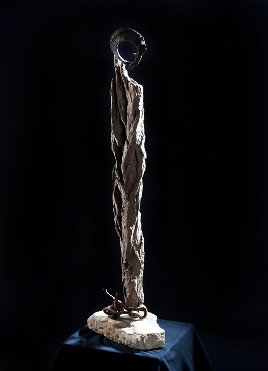 Jeanne d´Arc - 2004, Holz, Metall, Stein, H: 85 cm