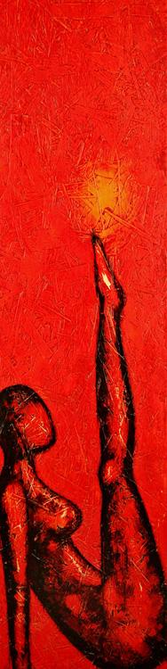 Spiel mit der Sonne - 2009, Acryl auf Holz,  34 x 150 cm