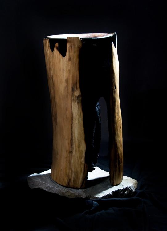 Taufbecken - 2007, Holz, Metall, Stein, H: 82 cm