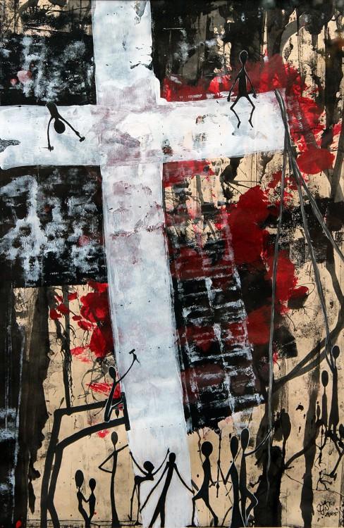 (Und immer wieder...) Die Errichtung des Kreuzes - 2005, Mischtechnik auf Karton, 34 x 52 cm