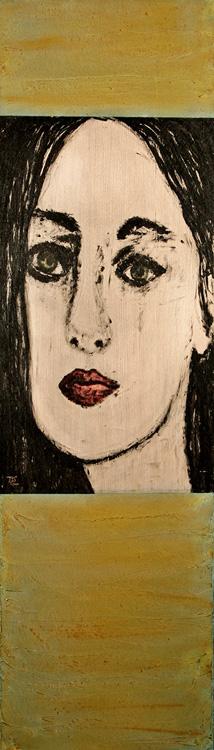 Yeux Verts I - 2010, Acryl auf Holz,  30 x 106 cm