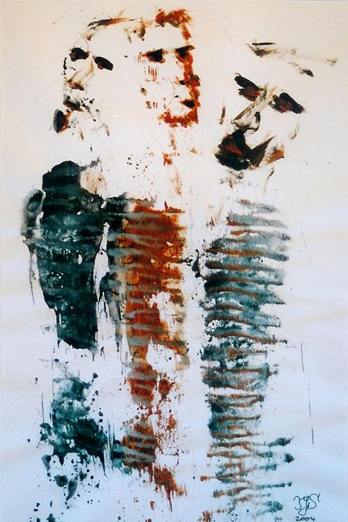 Die 3 Skeptiker - 2004, Acryl auf Papier